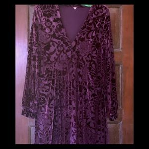 Free People purple burned out velvet dress.